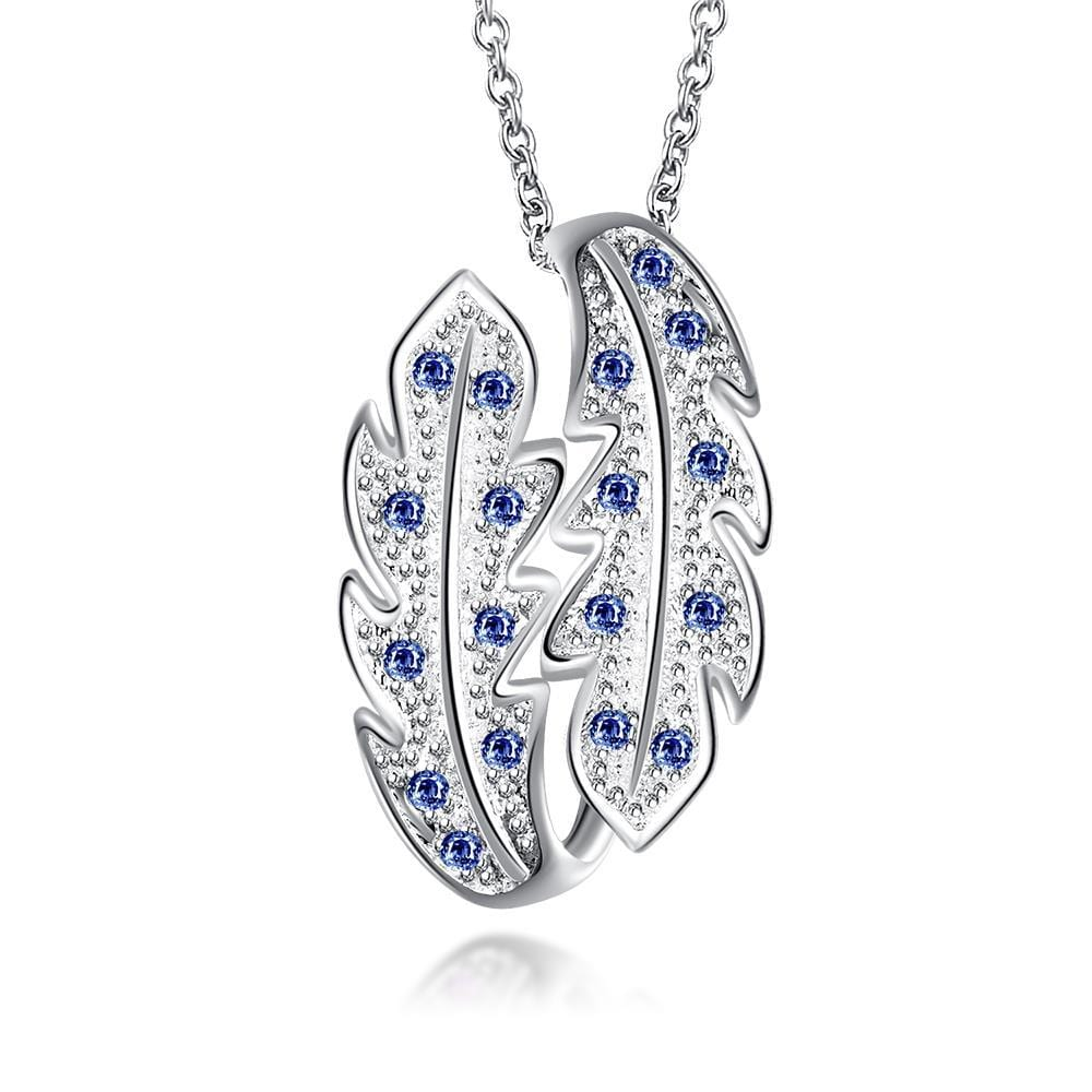 Vienna Jewelry Mock Sapphire Duo-Leaf Drop Necklace