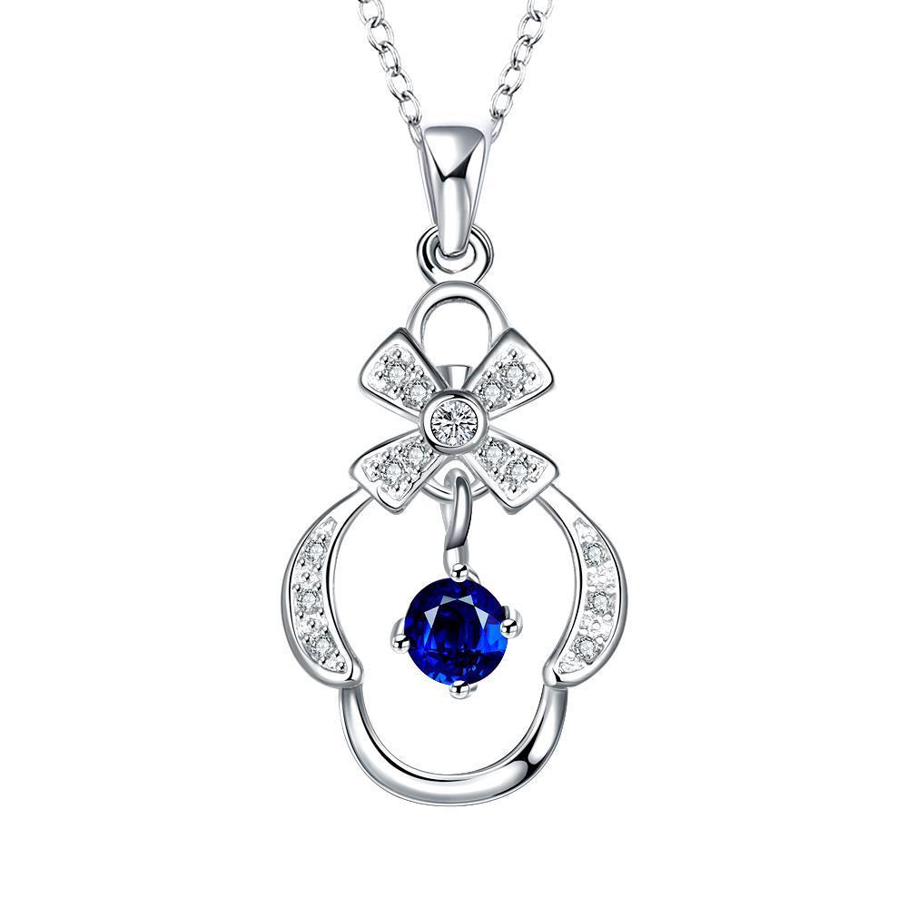 Vienna Jewelry Petite Sapphire Crown's Pendant Drop Necklace