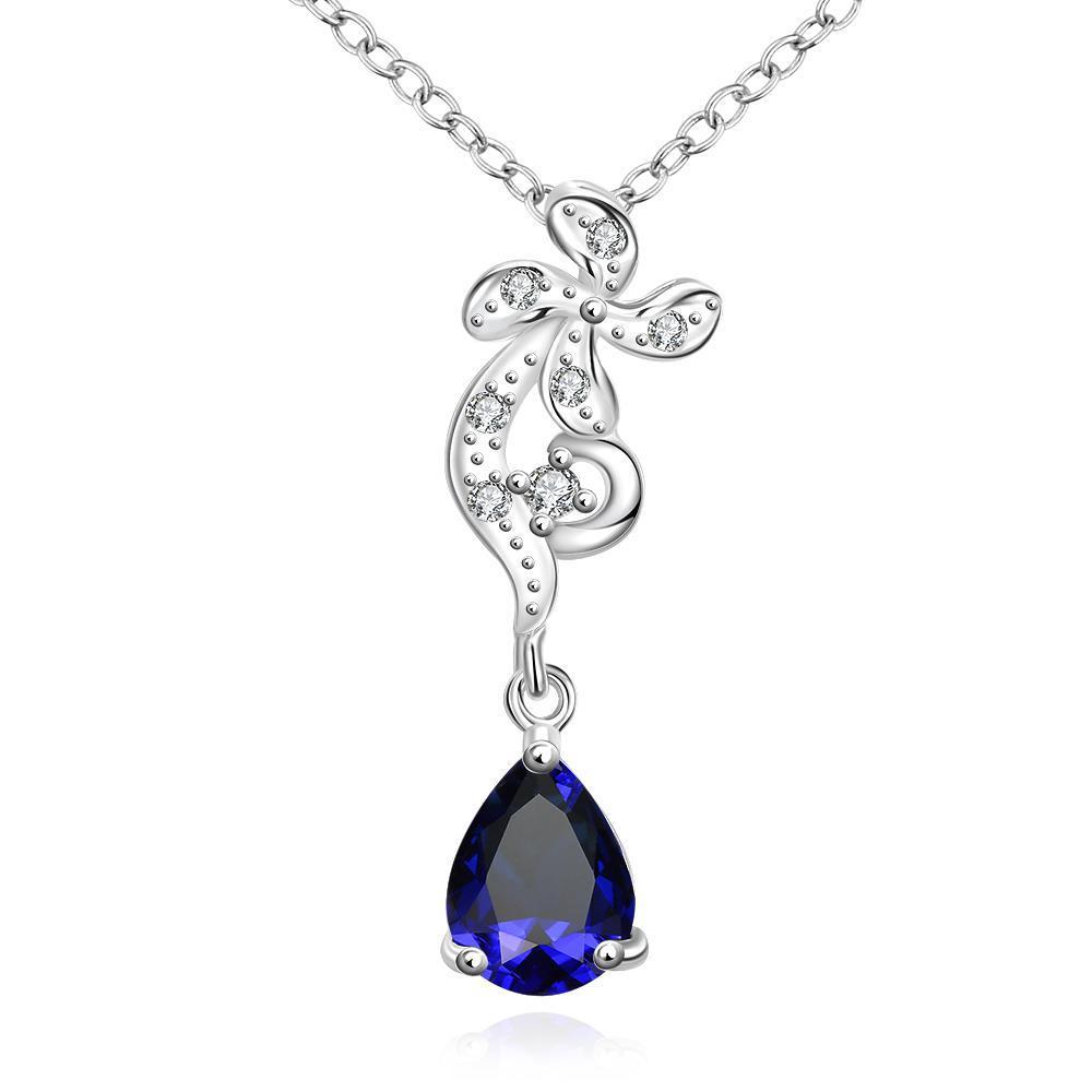 Vienna Jewelry Petite Mock Sapphire Gem Clover Stud Drop Necklace