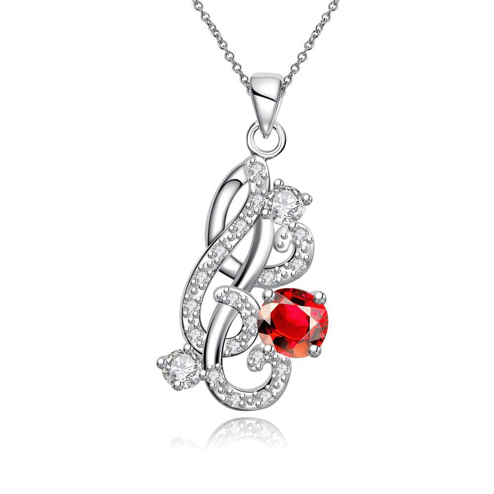 Vienna Jewelry Petite Ruby Gem Spiral Abstract Emblem Necklace