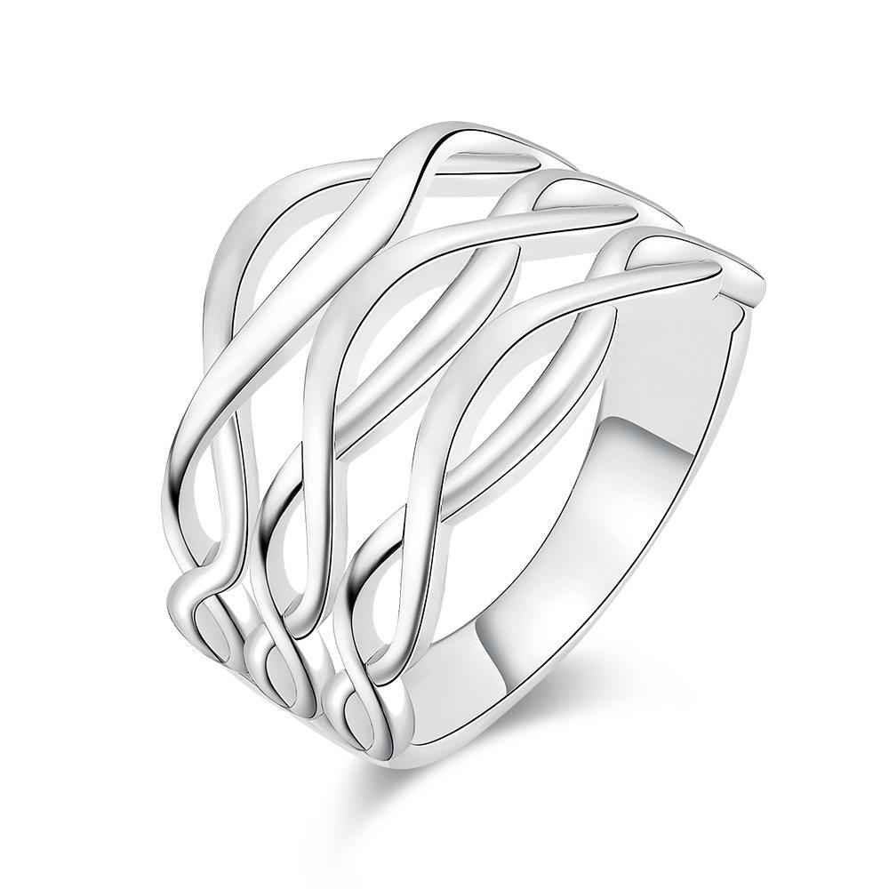 Vienna Jewelry White Gold Plated Horizontal Infused Ring