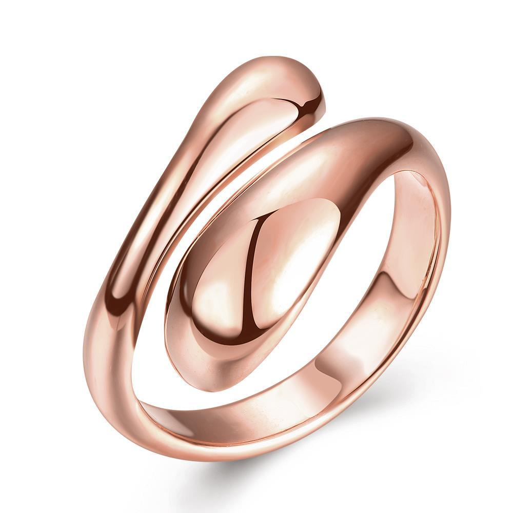 Vienna Jewelry Rose Gold Plated Matrix Cut Ring