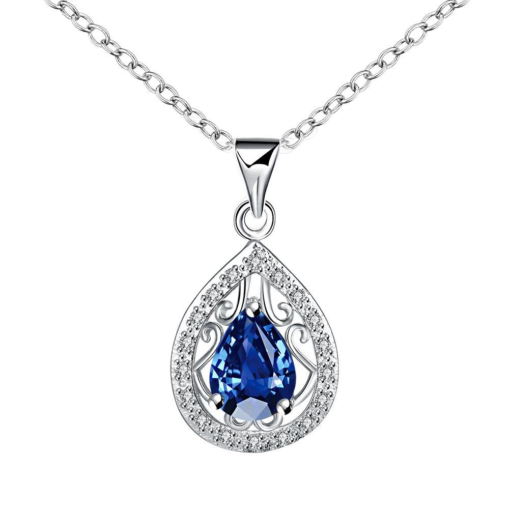 Vienna Jewelry Curved Sapphire Pendant Drop Necklace
