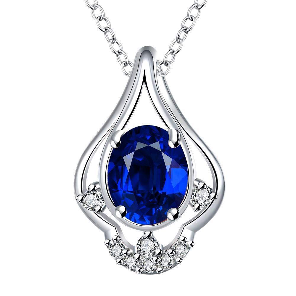 Vienna Jewelry Petite Mock Sapphire Triangular Curved Drop Necklace