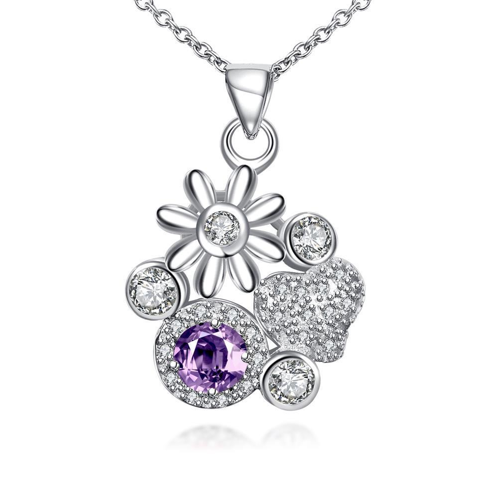 Vienna Jewelry Petite Purple Citrine Gem Multi Floral Charms Pendant Necklace