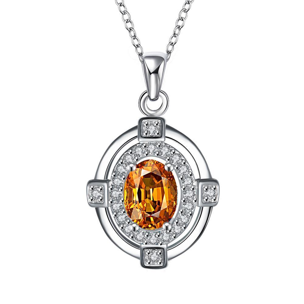 Vienna Jewelry Orange Citrine Crystal Pendant Drop Necklace