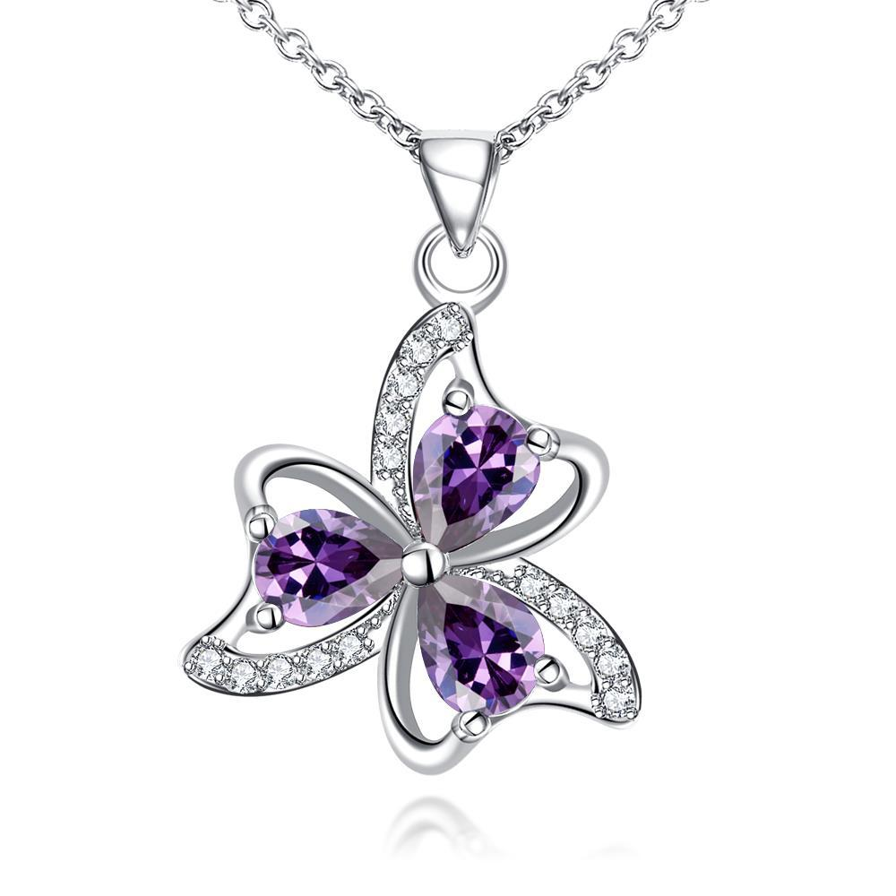Vienna Jewelry Trio-Clover Petal Mock Purple Citrine Drop Necklace