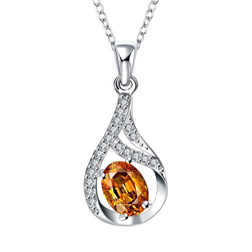 Vienna Jewelry Orange Citrine Curved Emblem Drop Necklace - Thumbnail 0