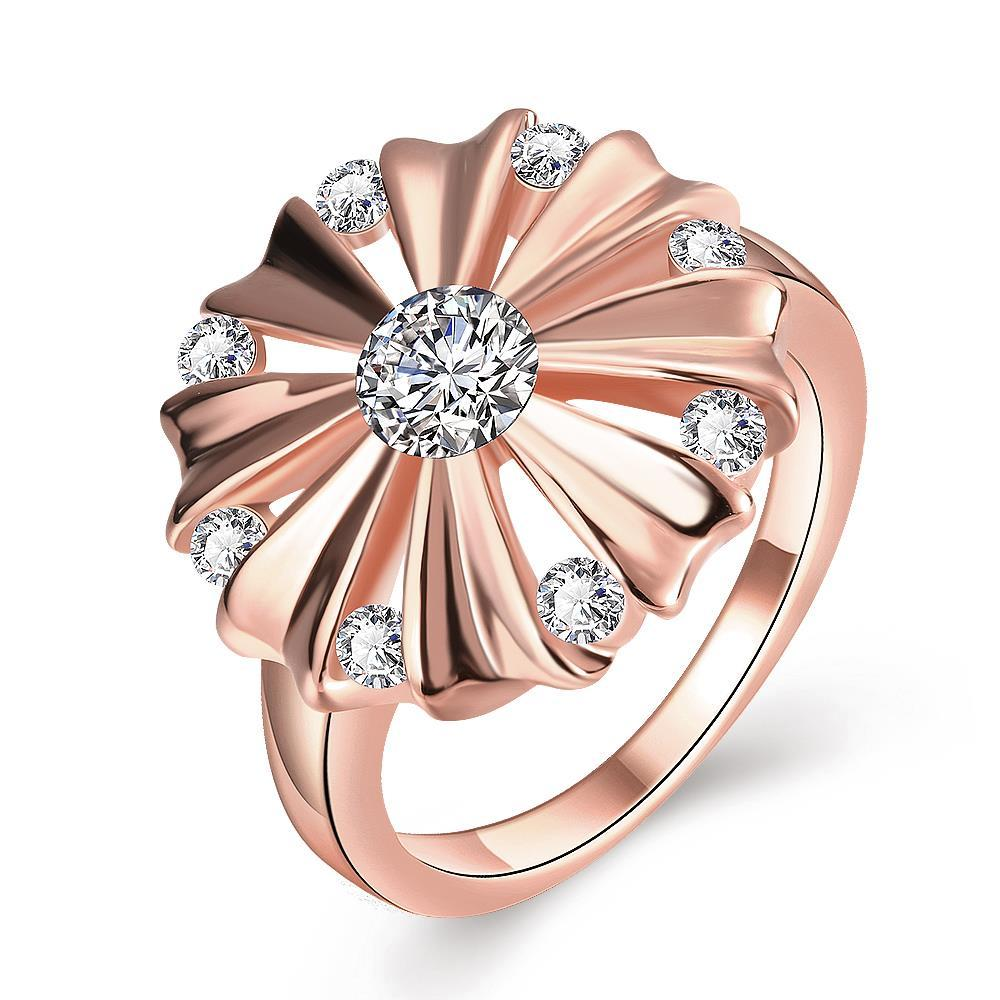 Vienna Jewelry Gold Plated Blossoming Crystal Ring
