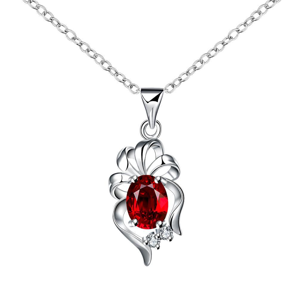 Vienna Jewelry Dangling Ruby Floral Petal Drop Necklace