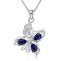 Vienna Jewelry Trio Mock Sapphire Butterfly Pendant Necklace - Thumbnail 0