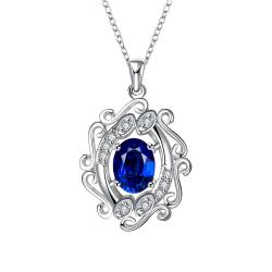 Vienna Jewelry Blossoming Spiral Sapphire Drop Necklace - Thumbnail 0