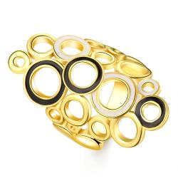 Vienna Jewelry Gold Plated Laser Cut Circular Crown Ring Size 7 - Thumbnail 0