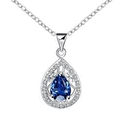 Vienna Jewelry Curved Sapphire Pendant Drop Necklace - Thumbnail 0