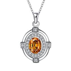 Vienna Jewelry Orange Citrine Crystal Pendant Drop Necklace - Thumbnail 0