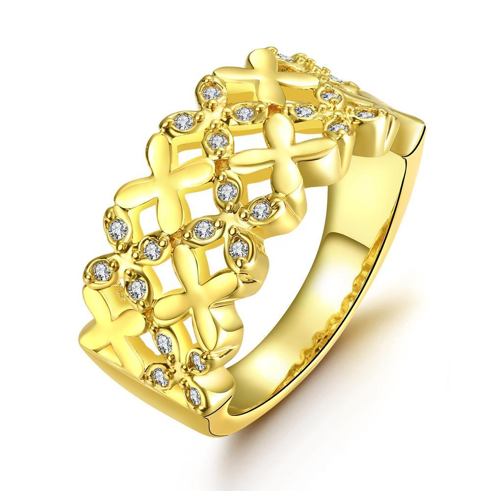 Vienna Jewelry Gold Plated X Marks The Spot Ring