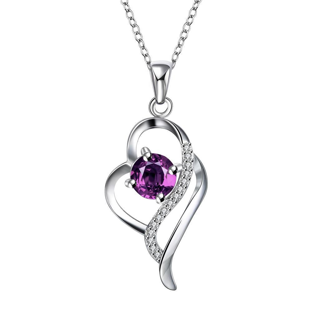 Vienna Jewelry Purple Citrine Curved Hollow Heart Drop Necklace