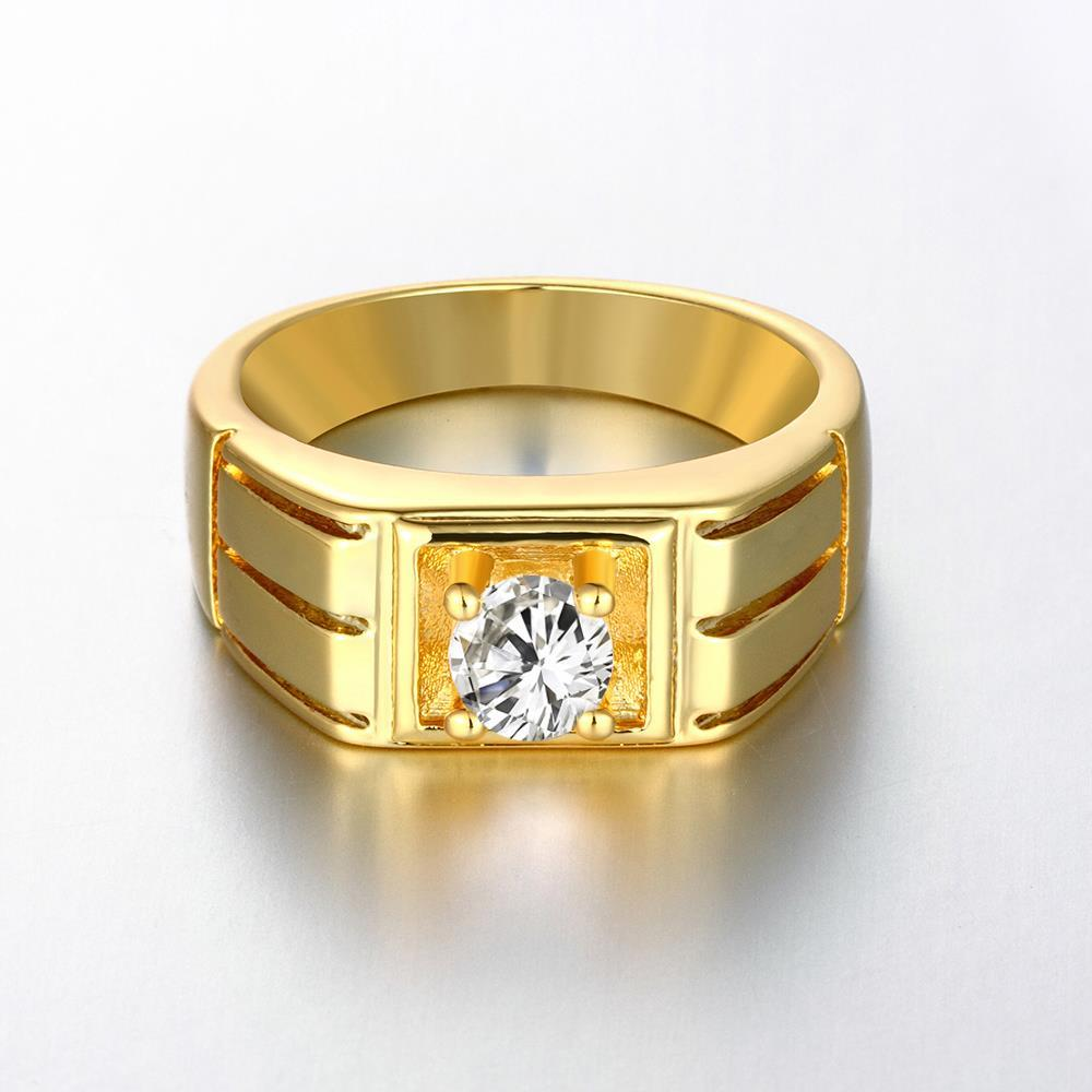 Vienna Jewelry Gold Plated Composite Princess-Cut Fashion Ring