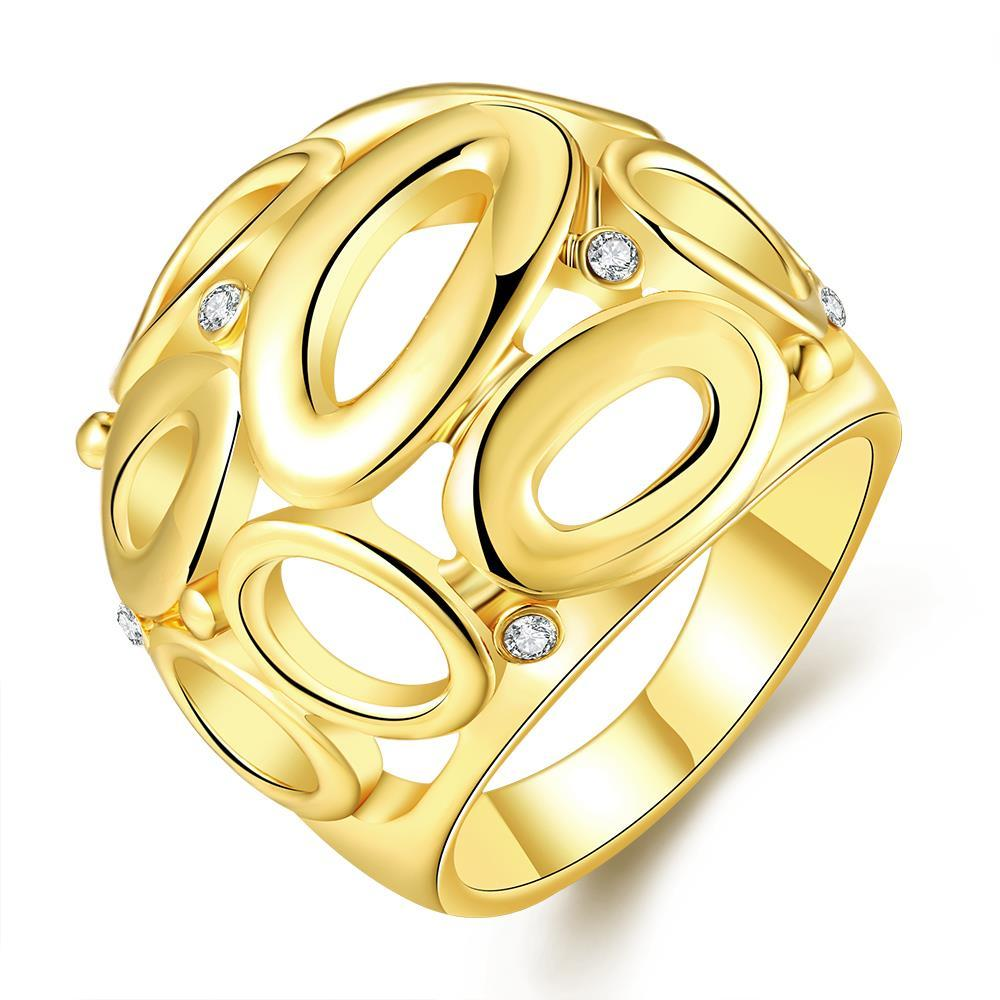 Vienna Jewelry Gold Plated Laser Cut Circular Hollow Ring Size 7