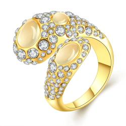 Vienna Jewelry Gold Plated Open Clasp Abstract Crystal Ring Size 7 - Thumbnail 0
