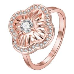 Vienna Jewelry Gold Plated Crystal Swirl Ring - Thumbnail 0