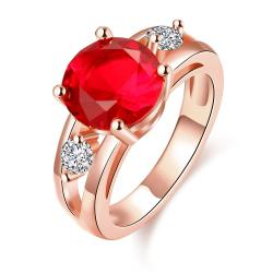 Vienna Jewelry Gold Plated Classical Ruby Ring - Thumbnail 0