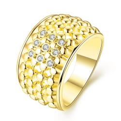 Vienna Jewelry Gold Plated Multi Beaded Lining with Jewels Crystals Ring Size 8 - Thumbnail 0