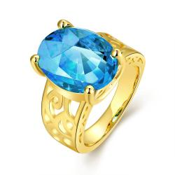 Vienna Jewelry Gold Plated Saphire Center Ring - Thumbnail 0