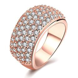 Vienna Jewelry Rose Gold Plated Classical Pave' Ring - Thumbnail 0