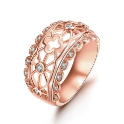 Vienna Jewelry Gold Plated Laser Cut Matrix Design Ring - Thumbnail 0