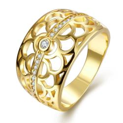 Vienna Jewelry Gold Plated Circular Laser Cut Inprint Ring - Thumbnail 0