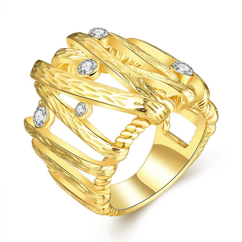 Vienna Jewelry Gold Plated Vertical Lined Crystal Covering Ring Size 8