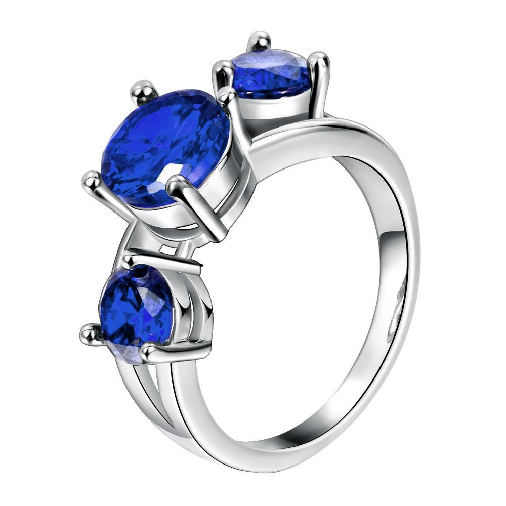 Vienna Jewelry Gold Plated Trio-Saphire Input Ring