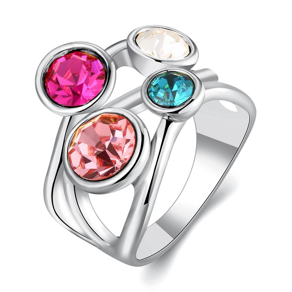 Vienna Jewelry White Gold Plated Quad-Rainbow Crystal Jewels Ring Size 7