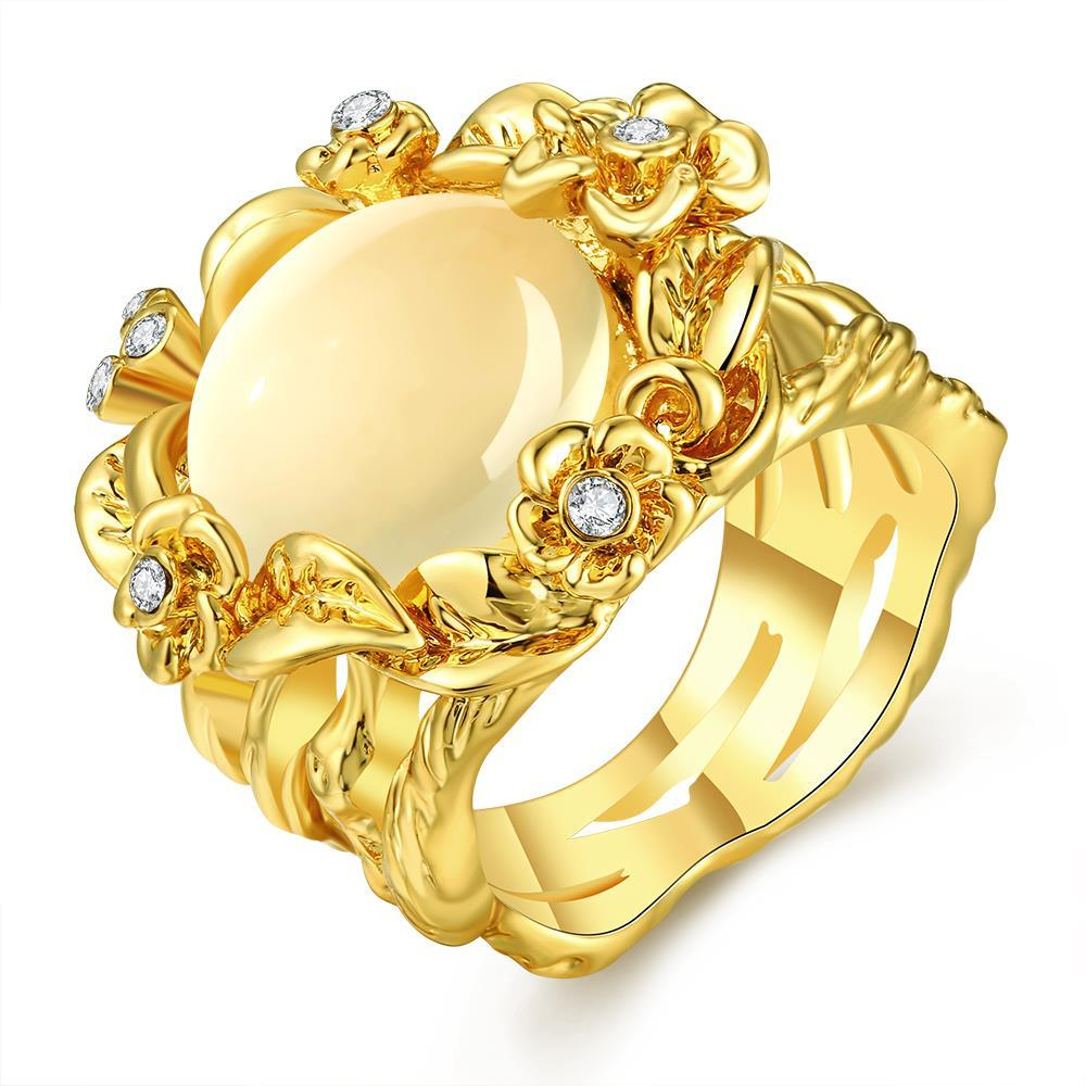 Vienna Jewelry Gold Plated Floral Spiral Ivory Onyx Ring Size 8