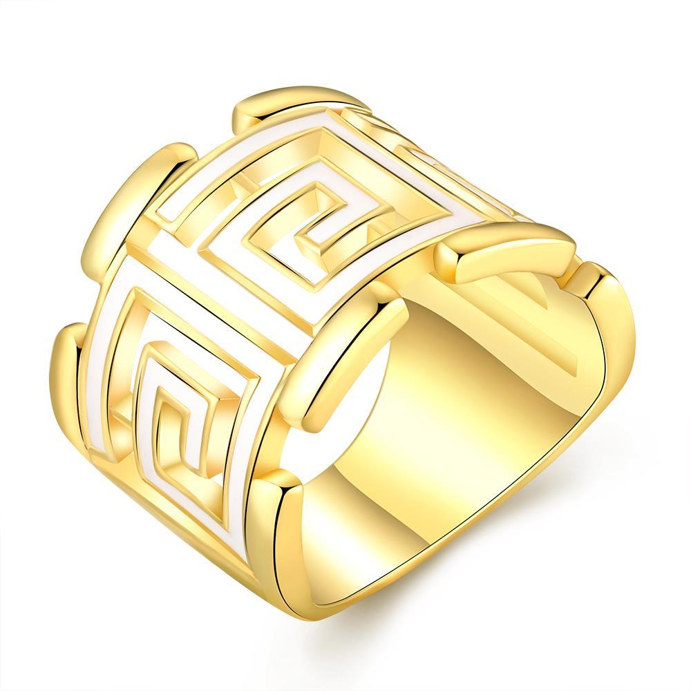 Vienna Jewelry Gold Plated White Lining Square Ring Size 7