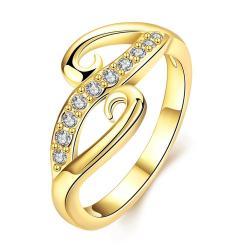Vienna Jewelry Gold Plated Swirl Cut Design Ring - Thumbnail 0