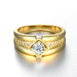 Vienna Jewelry Gold Plated Tilted Square Double Frame Ring - Thumbnail 0
