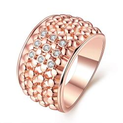 Vienna Jewelry Rose Gold Plated Multi Beaded Lining with Jewels Crystals Ring Size 7 - Thumbnail 0