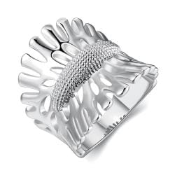 Vienna Jewelry White Gold Plated Leaf Branch Curved Ring Size 8 - Thumbnail 0
