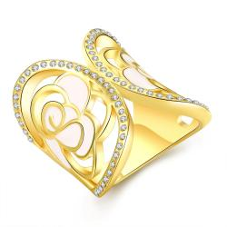 Vienna Jewelry Gold Plated Curved Crown Circular Ring Size 7 - Thumbnail 0