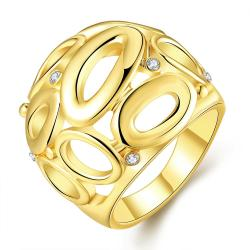 Vienna Jewelry Gold Plated Laser Cut Circular Hollow Ring Size 7 - Thumbnail 0