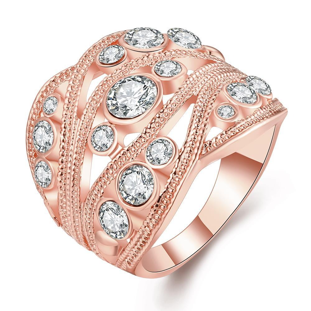 Vienna Jewelry Rose Gold Plated Crystal Inline Geo Ring Size 7