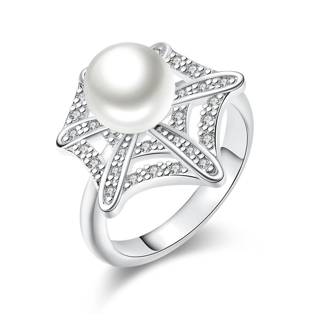 Vienna Jewelry White Gold Plated Pearl Infusion Ring