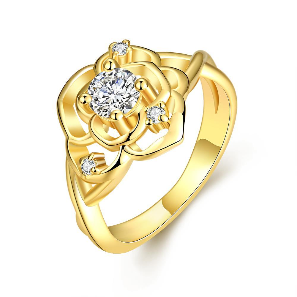 Vienna Jewelry Gold Plated Blossoming Floral Ring