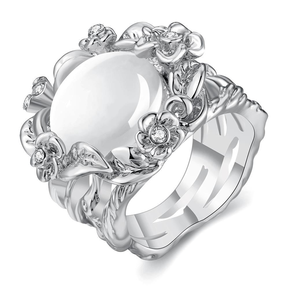 Vienna Jewelry White Gold Plated Floral Spiral Ivory Onyx Ring Size 7
