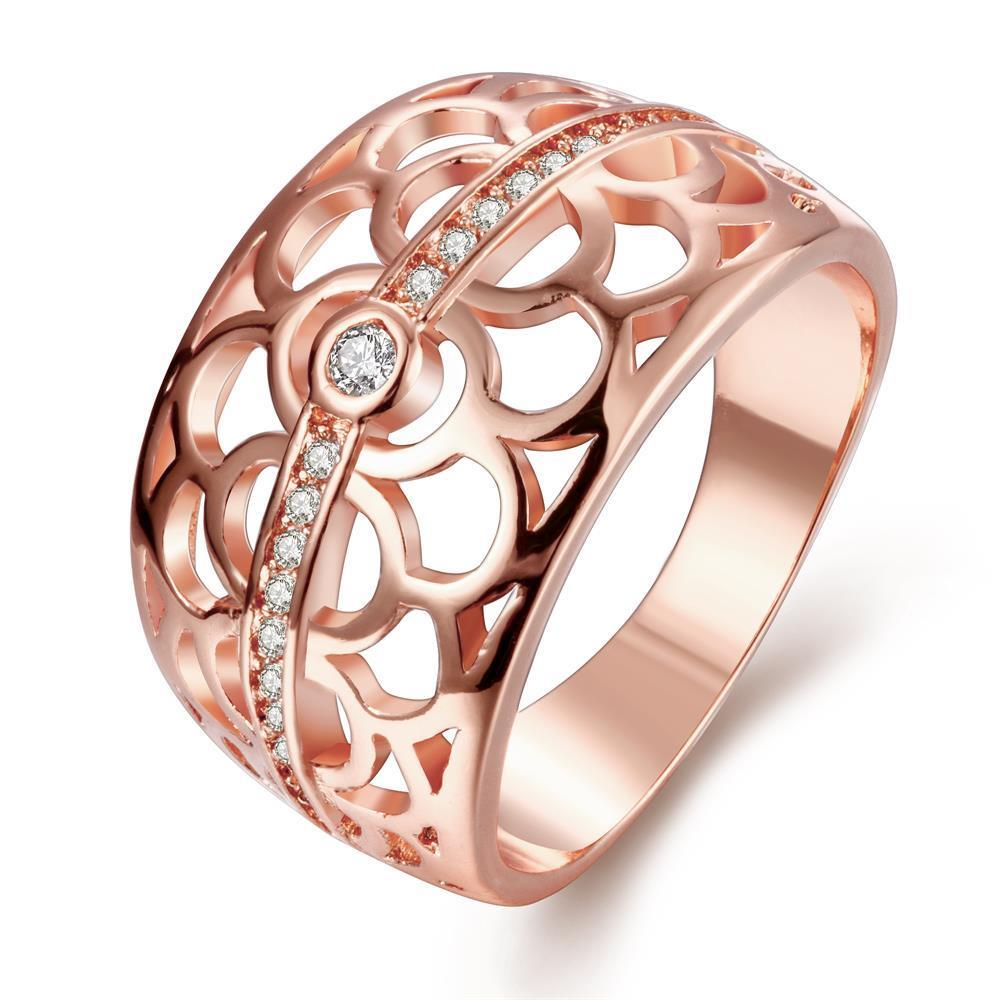 Vienna Jewelry Gold Plated Circular Laser Cut Inprint Ring