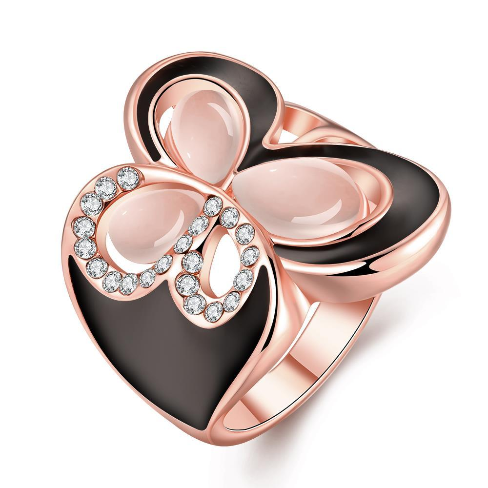 Vienna Jewelry Rose Gold Plated Ivory Onyx Butterfly Ring Size 8