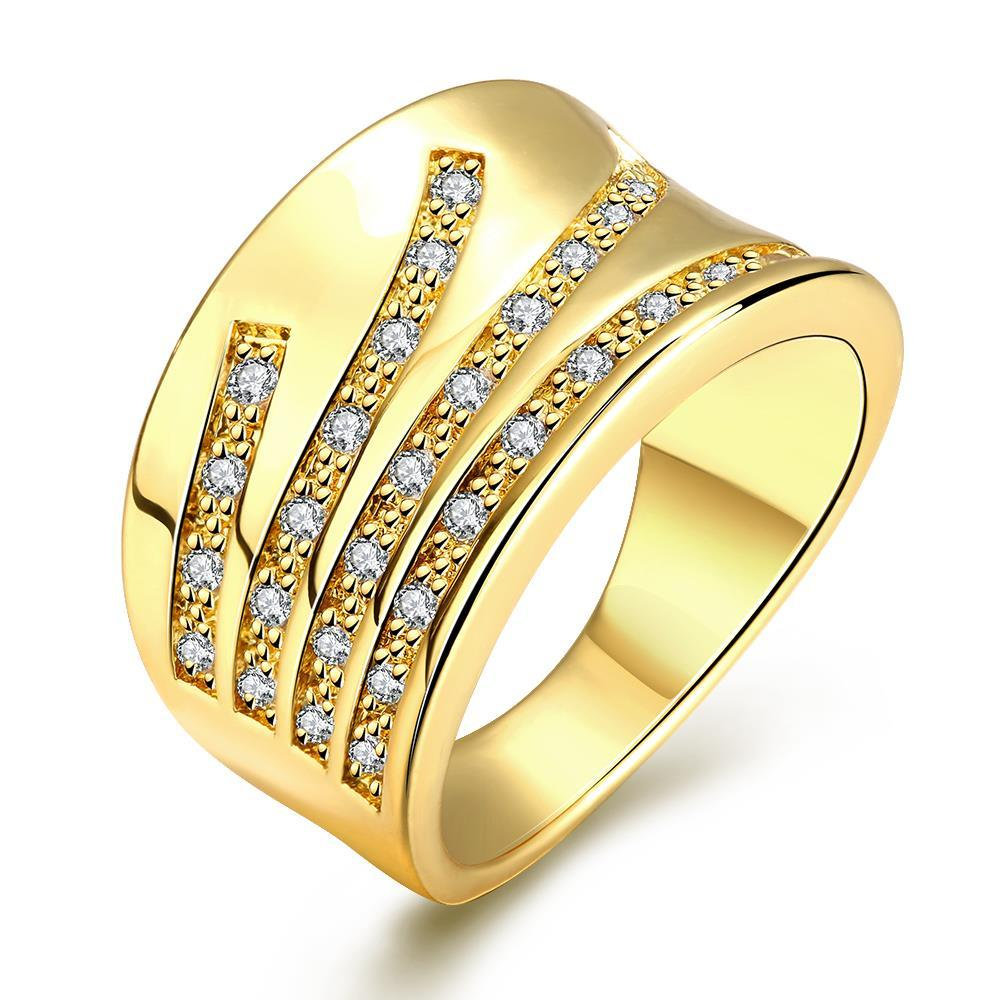 Vienna Jewelry Gold Plated Five Jewels Line Ring
