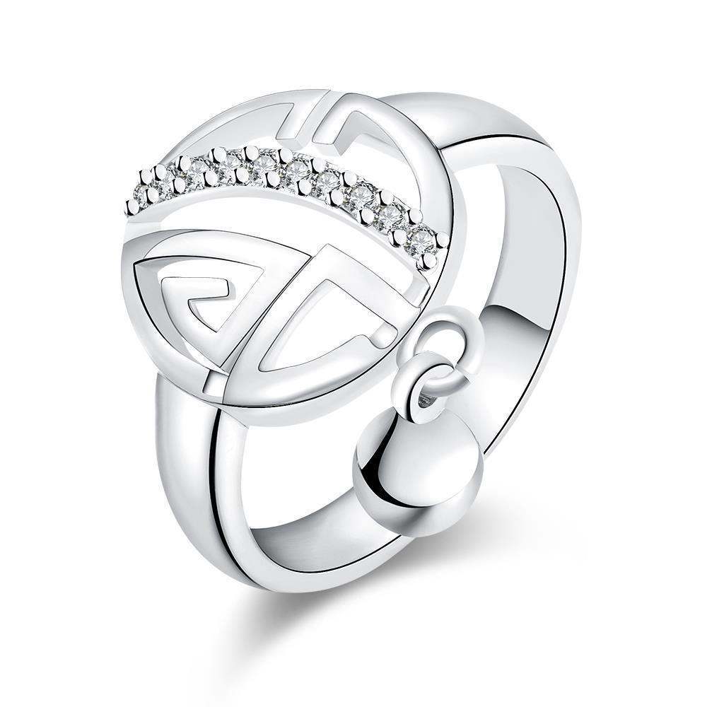 Vienna Jewelry White Gold Plated Clock Wise Ring